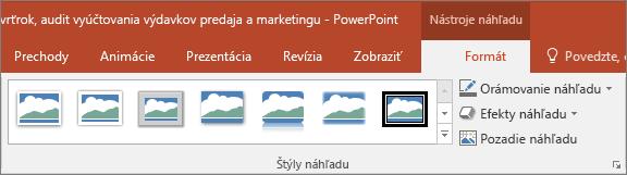 Zobrazuje rôzne štýly náhľadu aefekty, ktoré si môžete vybrať na karte Formátovať vPowerPointe.