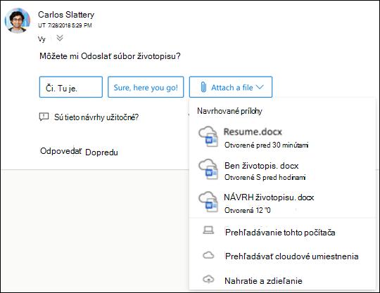 Priloženie navrhovaných súborov v Outlooku.
