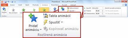 Skupina Rozšírené animácie na karte Animácia na páse s nástrojmi programu PowerPoint 2010.
