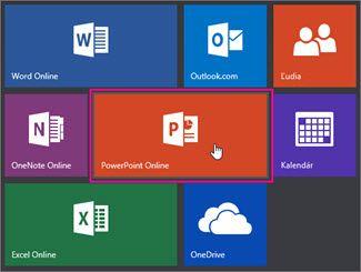 Kliknutie na dlaždicu PowerPoint Online