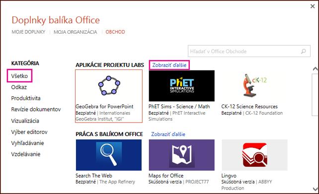 Dialógové okno Doplnky balíka Office so zvýraznenými prepojeniami Všetko a Zobraziť ďalšie