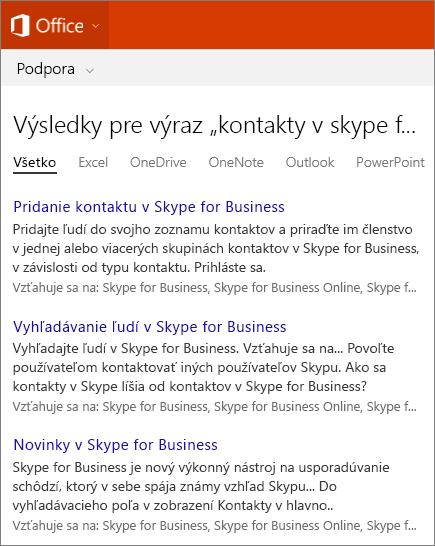Snímka obrazovky svýsledkami vyhľadávania kontaktov Skype for Business na stránke technickej podpory pre Office.