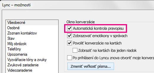 Snímka obrazovky soknom všeobecných možností Lyncu so začiarknutým políčkom kontroly pravopisu