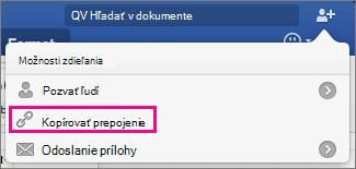 Ak chcete skopírovať prepojenie na dokument cilpboard, kliknite na položku Kopírovať prepojenie.