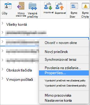 Kontextová ponuka priečinka na serveri Exchange sa zobrazuje s vlastnosťami vybratý