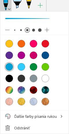 Farby a efekty písania rukou na kreslenie pomocou písania rukou v balíku Office vo Windowse Mobile