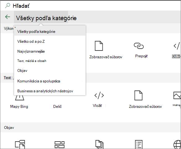 Rozšírená webovej časti panela s nástrojmi