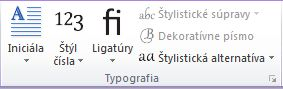 Skupina Typografia v programe Publisher 2010