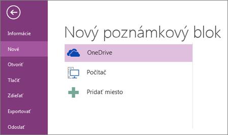 Proces nového poznámkového bloku v programe OneNote