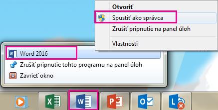 Kliknite pravým tlačidlom myši na ikonu programu Word aopätovným kliknutím pravým tlačidlom na položku Word spustite program ako správca.