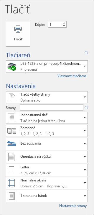 Snímka obrazovky tably Tlačiť srôznymi nastaveniami tlače, napríklad počtom kópií.