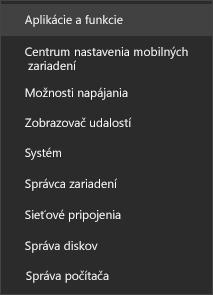 Snímka obrazovky ponuky Štart so zobrazením položky Aplikácie a funkcie