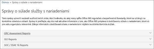 Zobrazenie stránky zabezpečenia služby: Správy o súlade služby
