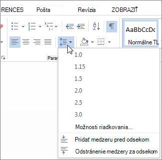 Riadkovanie a medzery medzi odsekmi obrazovky