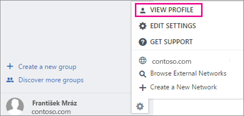 Snímka obrazovky s nastavením Zobraziť profil v Yammeri