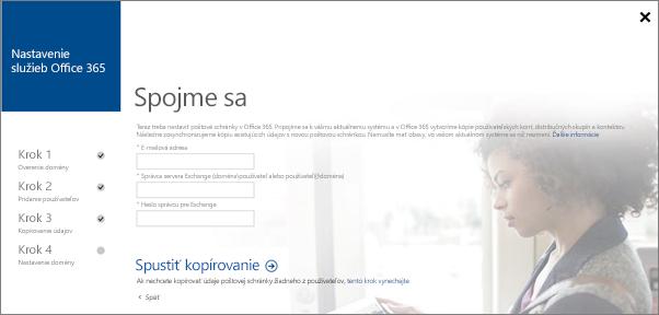 Zadajte informácie okonte, pomocou ktorých sa môžete pripojiť kserveru Exchange.