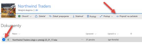 Výberom súboru a kliknutím na položku Pripnúť na začiatok ho urobíte ľahko dostupným z knižnice dokumentov