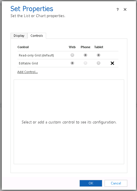 Vlastná konfigurácia ovládacieho prvku mriežky iba pre faktor webového formulára