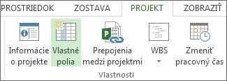 Príkaz Vlastné polia na karte Projekt