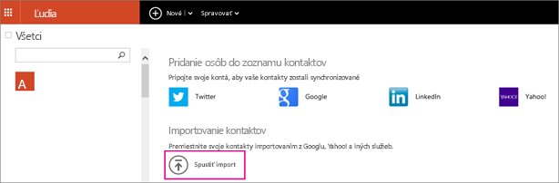 Výberom položky Spustiť import vyberte miesto, z ktorého budete importovať kontakty.