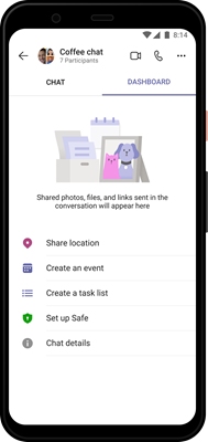 Teams Obrázok tabule v Androide