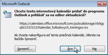 Všetky internetové kalendáre, ktoré sa majú pridať do dialógového okna programu Outlook