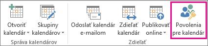 Tlačidlo Povolenia kalendára na karte Domov v Outlooku 2013