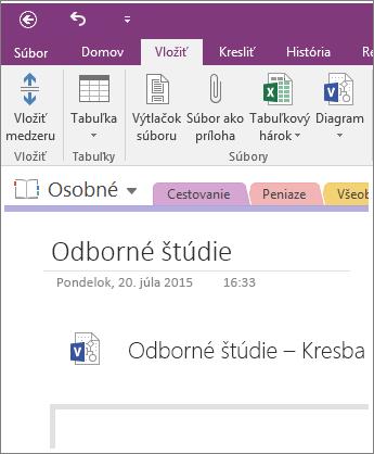 Snímka obrazovky spostupom vloženia nového diagramu programu Visio do OneNotu 2016.