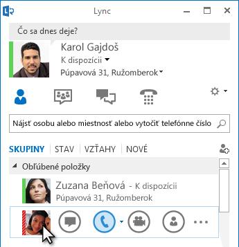 Ponuka Rýchla komunikácia cez Lync