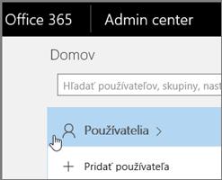 Kliknite na položku Používateľ.