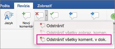 Na karte Revízia je zvýraznená položka Odstrániť všetky komentáre
