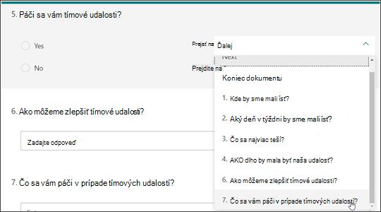 Vytvorenie pobočiek na ďalšie otázky na základe odpovede na inú otázku