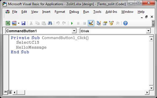 Sub v editore jazyka Visual Basic