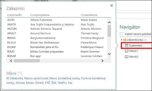 Obrázok dialógového okna navigátora dotazov doplnku Power Query