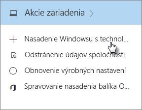 Na karte Akcie zariadenia vyberte možnosť Nasadiť Windows stechnológiou AutoPilot.