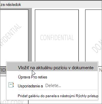 Kliknite pravým tlačidlom myši na miniatúru vodotlače, ktorá zobrazuje príkaz Vložiť v aktuálnom umiestnení dokumentu.
