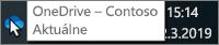 Snímka obrazovky znázorňujúca ukázanie kurzorom myši na modrú ikonu OneDrivu na paneli úloh stextom OneDrive – Contoso.