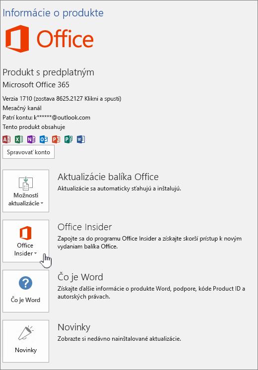 Prihláste sa do aplikácie Office Insider v aplikácii.