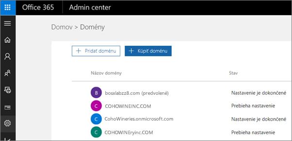 Na stránke spravovania domén kliknite na položku Kúpiť doménu