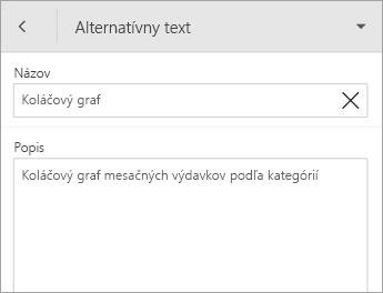 Príkaz Alternatívny text na karte Graf