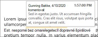 Vnorený komentár s obrazovkovým komentárom