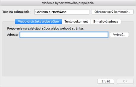 Zobrazuje možnosti vloženia hypertextového prepojenia na webovú stránku, e-mailovú adresu alebo dokument