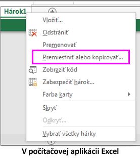 Možnosť kopírovania hárka, ktorá je k dispozícii v počítačovej aplikácii Excel