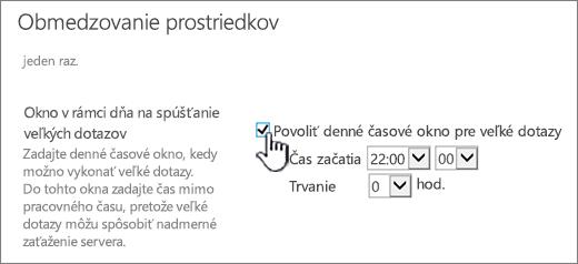 Stránka nastavení aplikácie centrálnej správy so zvýrazneným denným časovým oknom