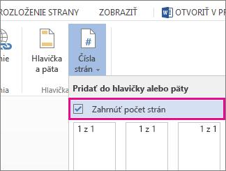 Obrázok začiarkavacieho políčka na zahrnutie počtu strán k číslam strán v dokumente (strana X z Y).