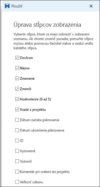 Zobrazenie zoznamu úprav v knižnici dokumentov