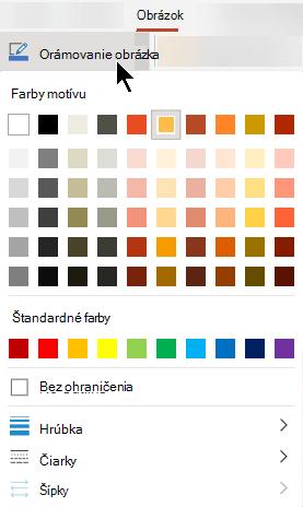 Ponuka Orámovanie obrázka obsahuje možnosti pre farbu, hrúbku a štýl čiary.