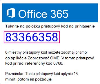 E-mailový prístupový kód OME Viewer