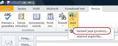 Jazyk na karte Revízia na páse s nástrojmi v správe programu Outlook