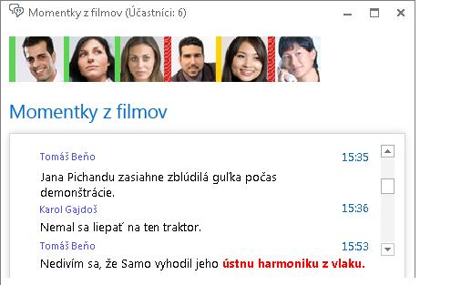 Snímka obrazovky zobrazujúca okno hovorne anový príspevok stučným červeným písmom apridaným emotikonom